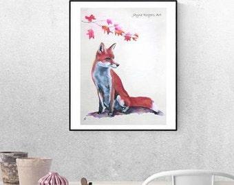 ORIGINAL Fox Painting - Fox Wall Art, Animal Art, Animal Painting, Wildlife Art, Animal Lovers Gift, Fox Gift , Fox Artwork