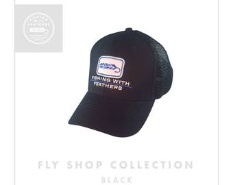 Black Fly Shop Hat -Snap Back Trucker Hat - Fishing With Feathers