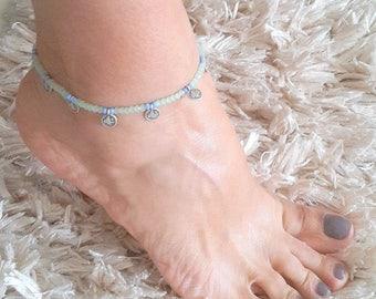 Anklet, crystal anklet, green anklet,foot bracelet,Gift,beach,summer jewelry,Bohemian,money anklet,Ottoman sign
