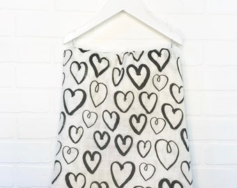 Hearts Organic swaddle blanket, black and white hearts, organic swaddle blanket, baby shower gifts, unique baby shower gifts, baby gifts