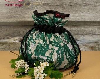 Pompadour bag, evening bag, ladies handbag, hand bag, lace, Chamagner green