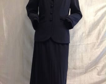 SALE,RARE Vintage 50s Black Skirt Suit Pleated midi Skirt jacket Sleeve end velvet Germany Designer Nienhaus Two Piece,size M