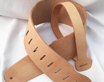 Adjustable Leather Guitar Strap Kit - Personalize Your Own Guitar Strap - 8 oz Natural Russet Oak Leather