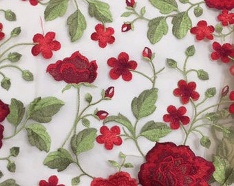 Large Rose Embroidered Fabric