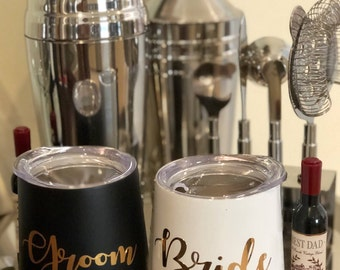 Bride groom tumbler-bride groom wine tumblers-wine tumbler-stainless steel tumblers-engagement gifts-bridal Shower gifts-bridal Party gifts