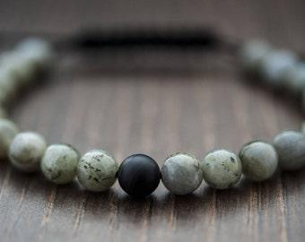 Unique Gift for Mens Bracelet For Mens Jewelry Labradorite Bracelet Shamballa Bracelet Cord Bracelet Boyfriend Gift Grey Black Bracelet