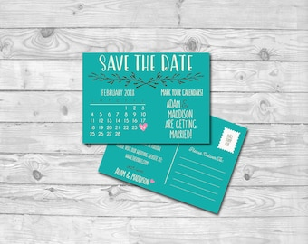 Teal Postcard Save The Date Invitation   7x5   Digital PDF File   Instant Download   Personalized with your Details