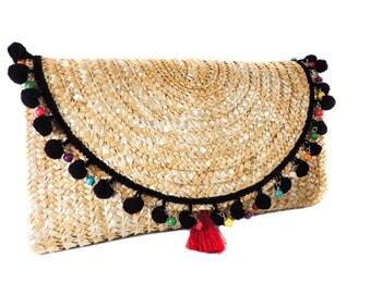 Black Pom Pom Straw Clutch, Red Tassle & Colourful Acrylic Beads / Straw Purse