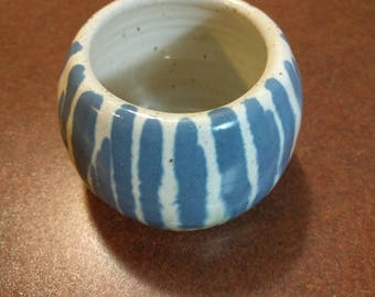 White blue and green pottery candle holder P.E.I. pottery