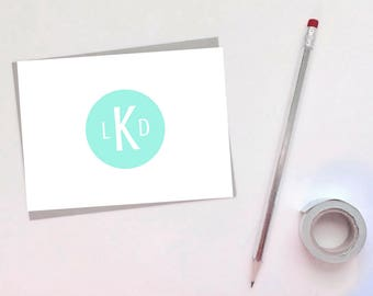 Set of [10] 4x6 Monogram Folded Cards - Greeting Card - Note Card - Thank You Card - Correspondence