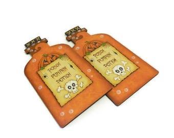 Hand Painted Poison Bottle Shape Halloween Sign | Halloween Poison Pumpkin Potion Bottle Sign