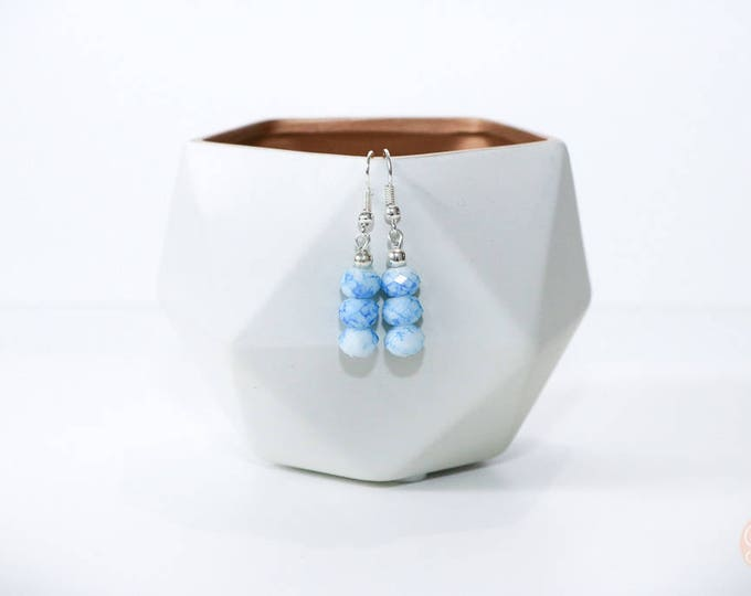 Blue and White Marble Drop Earrings.