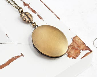 Antiqued Brass Oval Locket Pendant Necklace with Leaf Charm (Hand Oxidized)