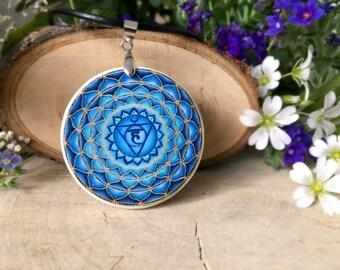Vishuddha Chakra polymer clay necklace