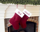 Christmas Stockings. Traditional Christmas Stocking. Red or Burgundy Velvet Christmas Stocking. Ivory Cream White Quilted top. Personalized.