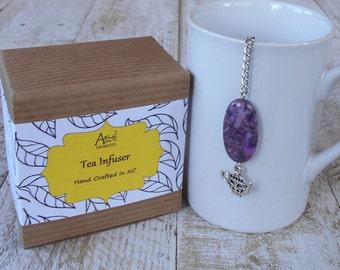 Teapot Tea Infuser, Lead Free Charm, Purple Charoite, Loose Tea Steeper, Mesh Tea Ball, Tea Lover Gift, For Her, For Him, Teapot Collector