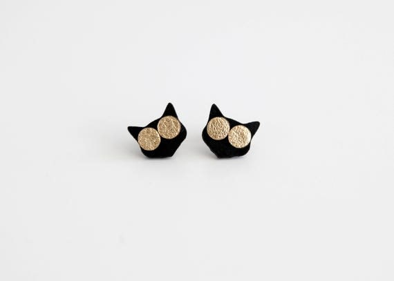 Cat with sunglasses funky stud earrings- black and gold stud earrings- black cat earrings- leather earrings- fun gift for cat lovers