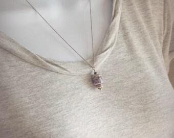 Small Porcelain Mushroom Pendant Necklace, Sterling Silver Nature Jewelry, Little Blue Ceramic Mushroom, Unusual Gift