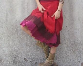 Felted skirt ~ Poppy red ~ Wrap around skirt ~ Elven clothing ~ Earthy clothing ~ Tribal women's skirt ~ Long skirt ~ Hippie clothing