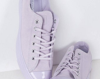 Converse Purple Lilac Fuchsia Lavender Suede Leather Low Top Chuck Taylor w/ Swarovski Crystal Bling Rhinestone Jewel Wedding All Star Shoes