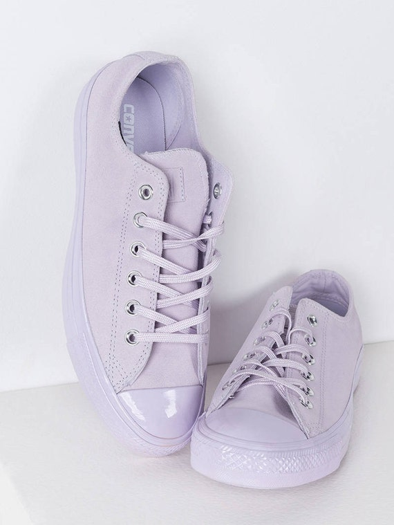 Converse Purple Lilac Fuchsia Lavender Suede Leather Low Top Chuck Taylor w/ Swarovski Crystal Bling Rhinestone Jewel Wedding All Star Shoes