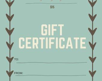 Gift Certificate, Gift Christmas, Gift Card, Birthday Gift, Gift for Her, Wedding Gift, Housewarming Gift, Printable Gift Certificate