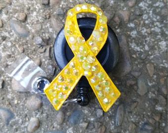 Yellow Ribbon Retractable Badge Reel