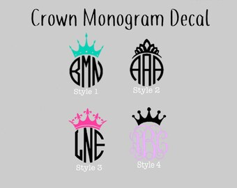 Crown Monogram Decal - Monogram Crown Decal - Monogrammed Decal - Crown Decal- Yeti Decal - Glitter Decal - Lilly Pulitzer Inspired