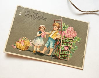 1910 VINTAGE VALENTINE CARD - Illustrated, Antique, Valentines Day, Ephemera, Hearts, Romantic Gift, Mens Gifts, Scrapbooking, Paper, Old
