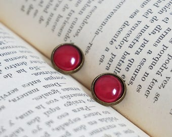 Burgundy stud earrings Delicate fall stud earrings Ruby red earrings Maroon earrings Red purple earrings Wine red earrings Marsala earrings