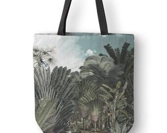 Vintage Illustration Tote Bag, Botanical Tote, Tropical Tote Bags, Polyester Bag, Black Strap Tote Bag, Tote Handbags