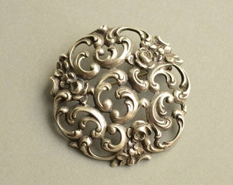 Antique 835 Silver Ornate Openwork Floral Brooch Pin, Germany, 1900's