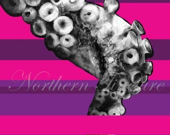 Tentacle Pop Art - Digital Print, from Original Octopus Charcoal Drawing & Digital Art, Nautical Beach Art