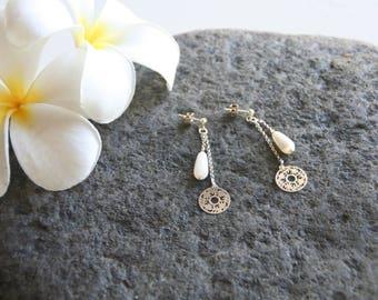 Dangling earrings in 925 sterling silver, Pearl drop charm