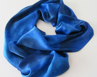 Blue Silk Scarf, Hand Painted Blue Silk Scarf, Hand Painted Silk Scarf, Blue Scarf, Celestial Blue Scarf, Gift For Her
