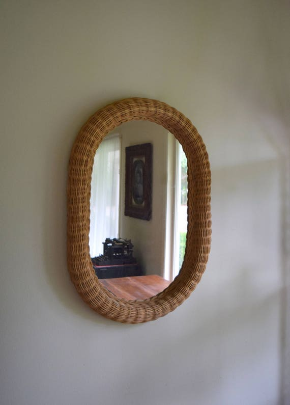 Large Vintage Oval Woven Wicker Mirror ~ Boho, Natural, Simple, Folk, Farmhouse, Simply Gorgeous