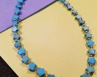 Blue Stars and Heart Ankle Bracelet
