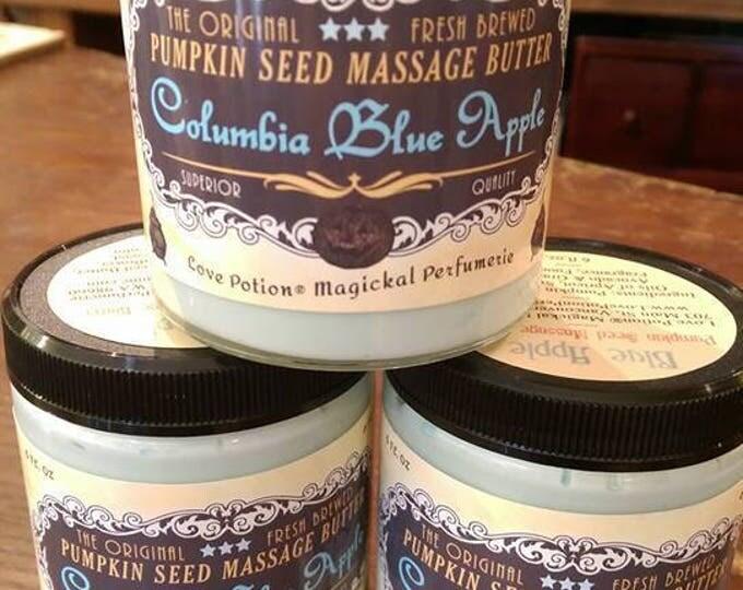 Columbia Blue Apple - Natural Pumpkin Seed Massage Butter - Bath and Body, Handmade, Body Butter - Love Potion Magickal Perfumerie