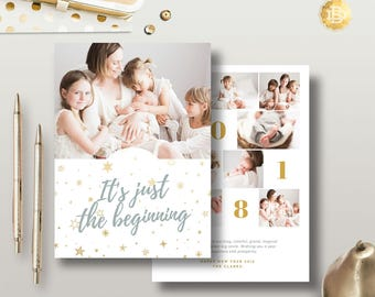 Holiday Greeting Card Design Template, New Year Card Photoshop Template, Season Greeting Card for Photographer - INSTANT DOWNLOAD - HC004
