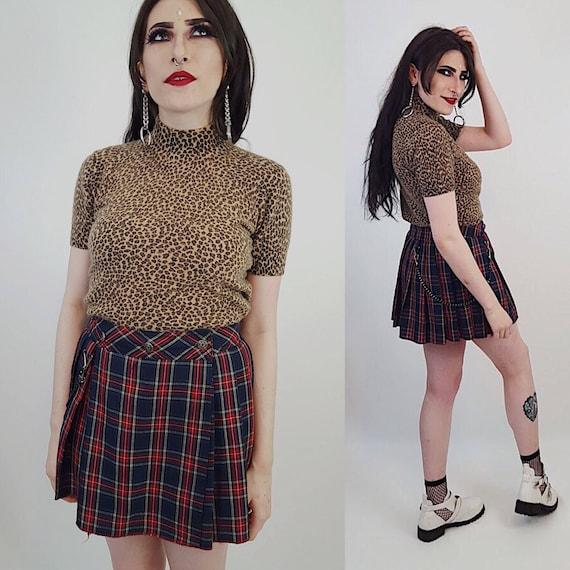 90s Vintage Red Blue Plaid Mini Skirt Small - Tartan High Waist Pleated Wrap Skirt -Schoolgirl Grunge Punk Pleated Miniskirt With Chain