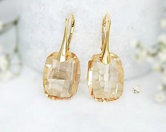 Rose gold earrings, Swarovski earrings, Bridesmaid earrings, Champagne earrings, Swarovski crystal earrings, Bridesmaid gift Sterling Silver