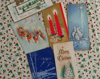 Vintage Christmas Cards 1960-61 Retro Greeting Cards Junk Journal Collage Art Journal DIY Cards Scrapbooking