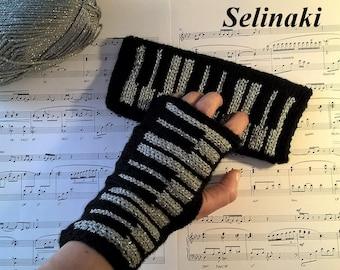 Knit Silver Piano Fingerless Gloves Gold Glitter Mittens Hand Wrist Warmers Music