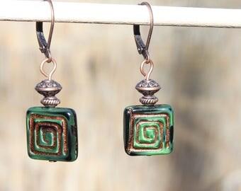 Green Earrings Dangle Earrings Drop Earrings Czech Glass Earrings Copper Earrings Boho Jewelry Chic Gift for women Gift for her