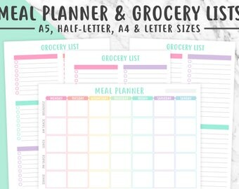 MEAL PLANNER & GROCERY List Printable | Pastel, Meal Plan, Meal Planning, Menu Planning, Food Journal, Shopping List