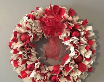Christmas Cheer Wreath, Christmas Wreath, Fabric Wreath, Christmas, Ornaments, Door Hanging