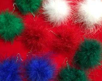 Holiday Fluffy Feather Pom Pom Earrings