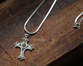 Marcasite Silver Cross Necklace