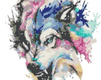 Watercolor wolf Cross Stitch Pattern Watercolor pattern needlepoint needlecraft -136x161 stitches- INSTANT Download - B1500