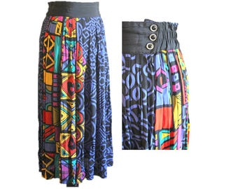 Vintage Maxi Skirt / 1980s Colorful Long Skirt / Size 8 / by Platinum by Dorothy Schoelen / Excellent Condition